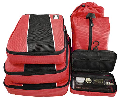 (Packing Organizers - Clothing Cubes Shoe Bags Laundry Pouches For Travel Suitcase Luggage, Oxford Storage Organizer 6 Set Color Red)