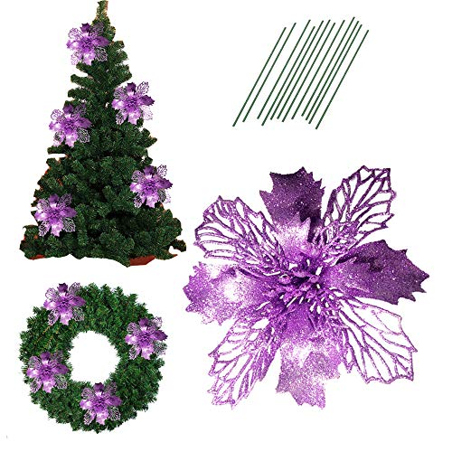 6.2 Inch Glitter Artifical Wedding Christmas Flowers Glitter Poinsettia Christmas Tree Ornaments Christmas Tree Decorations Pack of 12 (Purple)