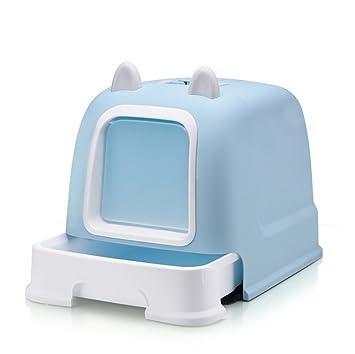 TOOLTOQ Contenedor Europeo Moderno De Arena para Gatos Totalmente Cerrado Cat Cat Toilet Toilet Extra Grande Doble Pino Gato Arena Pot Cat Pot,Blue: ...