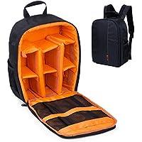 Camera Backpack Waterproof Hiking Padded Camera Backpack Bag for Canon, Nikon, Sony, Olympus, Samsung, Panasonic, Pentax SLR DSLR Cameras (Orange)