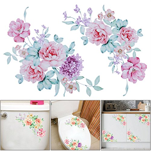 Katoot PVC Removable Peony Flowers Wall Stickers DIY Art Vinyl Wallpaper Decals for Toilet Fridge Kids Living Room Home Decoration