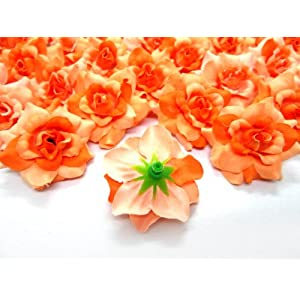 """(100) Silk Two Tone Orange Roses Flower Head - 1.75"""" - Artificial Flowers Heads Fabric Floral Supplies Wholesale Lot for Wedding Flowers Accessories Make Bridal Hair Clips Headbands Dress 3"""