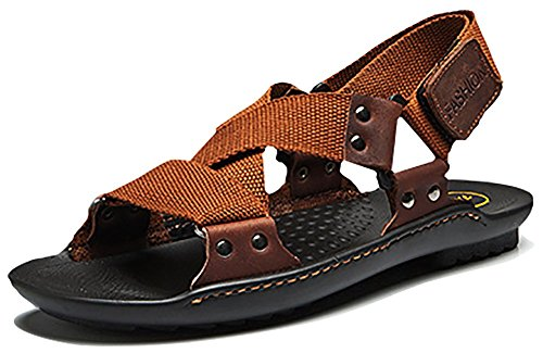 Odema Open Sandals Size Summer Toe Leather Elastic Brown Plus Slippers Mens Breathable 4rfq4