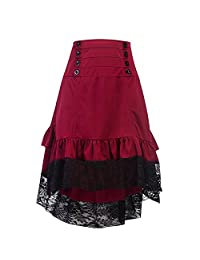 Women's Vintage Steampunk Victorian Goth Lace Party Skirt Vintage Style Skirt