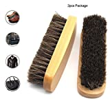 MOTONG Horsehair Shine Brush - Shoes Brush,Can Be Used for Shoes,Leather Clothes,Handbags,Purses,Sofa and more,2pcs Package