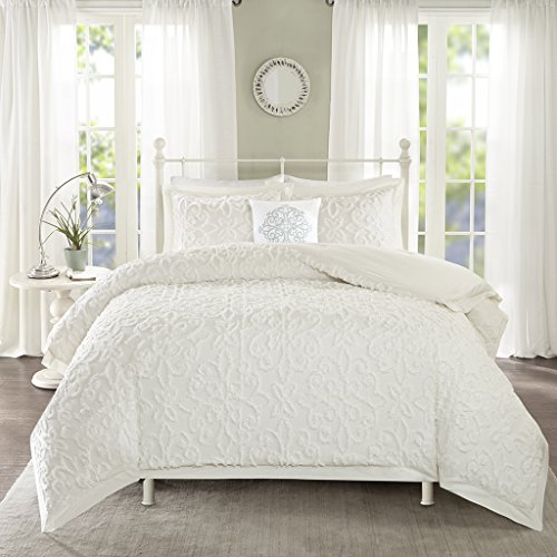 Madison Park Sabrina Comforter Set Full/Queen Size - White, Medallion - 4 Piece Bed Sets - 100% Cotton Teen Bedding for Girls Bedroom