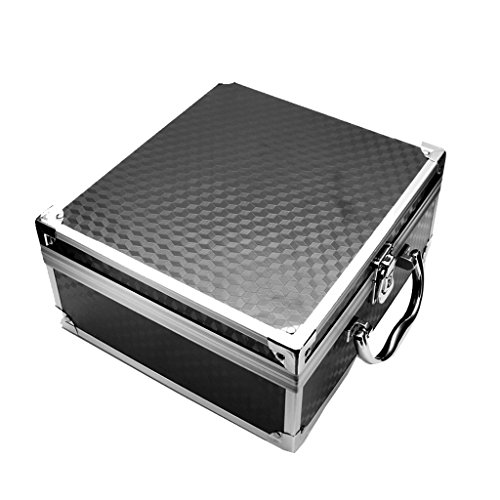 SunniMix Aluminum Alloy Travel Tattoo Body Art Machine Case Carrying Box Organizer With Lock Silver Black 24.522.511CM/9.568.784.29 inch - Black