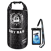 Mpow Waterproof Dry Bag, 10L Dry Bag with Waterproof Cell Phone Case 2 Zip Lock Seals & Detachable Shoulder Strap for Skating,Climbing, Beach, Rafting, Boating, Hiking, Camping andFishing
