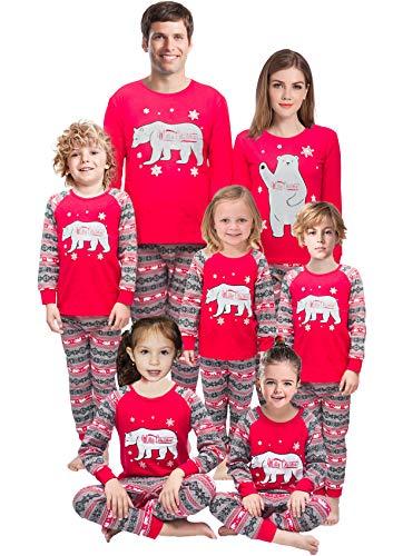 Family Matching Christmas Pajamas Mama/Little/Papa Bear Women L ()