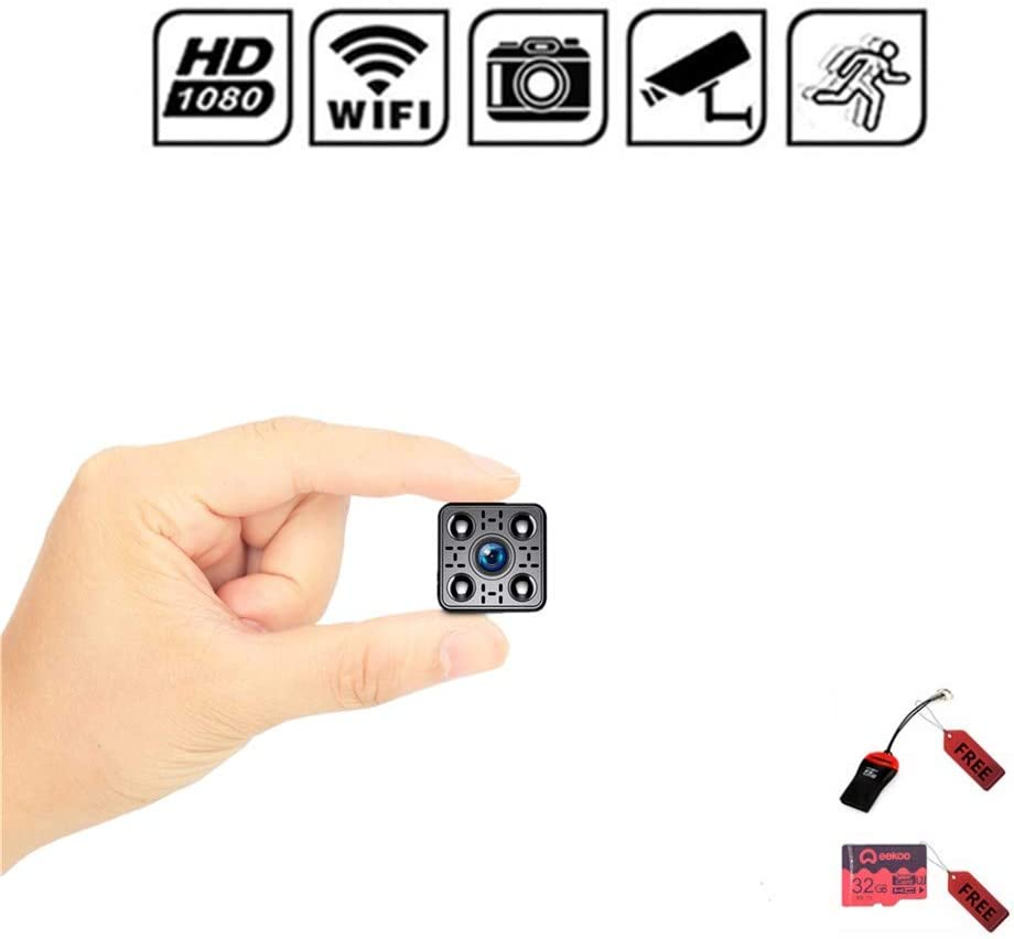 Spy Mini Camera Wireless HD 1080P Hidden Home WiFi Security Cameras Cam with Night Vision,Video Record and Motion Detection for Home, Office and Outdoor Use,Video Only 32GB Memory Card Included