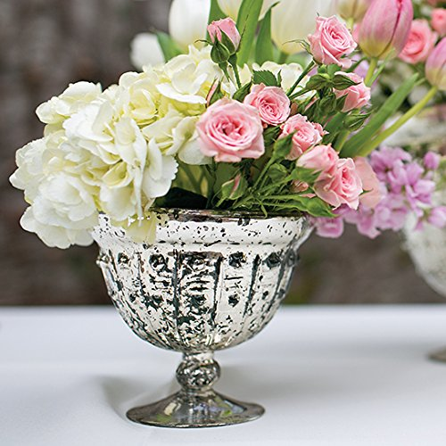 Tall Glass Bowl (Mercury Glass Compote Bowl in Silver Gold - 5