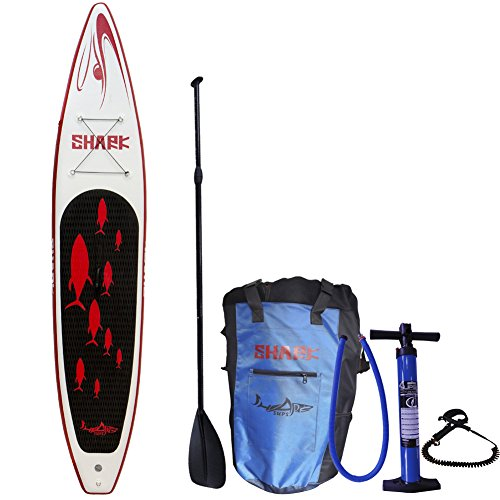 SharkSups All-Round Touring Racing Yoga Wind Surfing Multi-Player Inflatable Stand Up Paddle Boards with Standard Accessories Include 3 Piece Adjustable Carbon Paddle