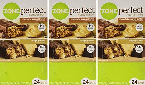 ZonePerfect Nutrition Bars, Fudge Graham/Chocolate Peanut Butter Combo. 1.76 OZ, 72 Bars