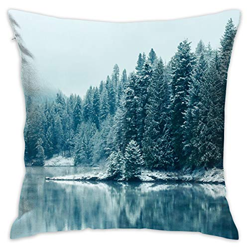 TRK-KWQDF British Columbia Lake & Trees Throw Pillows Covers for Couch/Bed 18 X 18 Inch, Print for Textile Wallpaper Pattern Home Sofa Cushion Cover Pillowcase Gift Bed Car Living Home