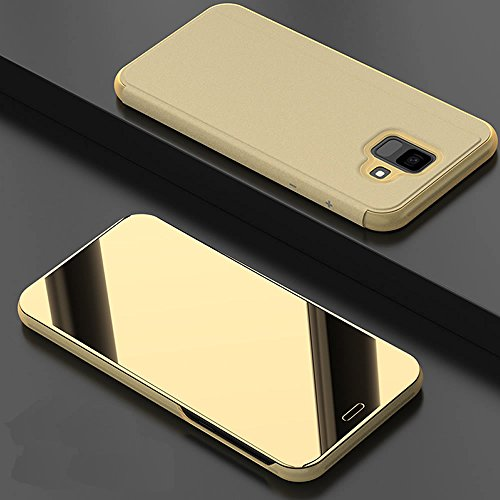 Leather Case with Stand for Galaxy A6 2018,Bookstyle Flip Case Cover for Galaxy A6 2018,Leecase Mirror Effect Transparent View Standing Function for Samsung Galaxy A6 2018-Gold by Leecase