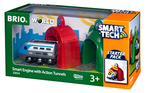 Brio 33834 Smart Engine with Action Tunnels Preschool Train Set (3 Piece), Multi