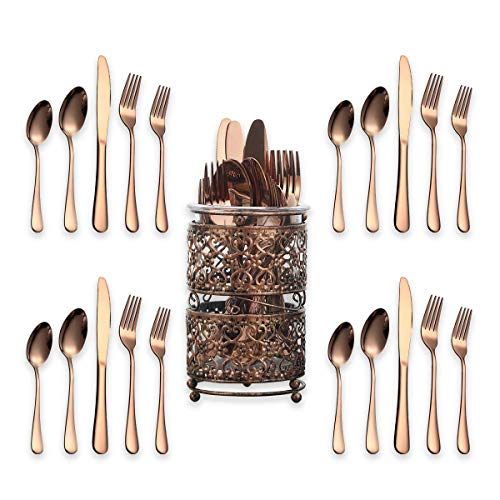 Berglander Stainless Steel Flatware Set 20 Piece With Titanium Rose Gold Plated, Copper Silverware Set Pack With A Metal Classic Copper Color Holder, Service For 4 (Shiny, Rose Gold) ()