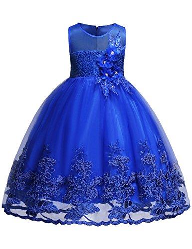 Blevonh Dress for Kids Girls Sleeveless Vintage Print Swing Party Dresses Kids Chiffon Lace 3D Flower Wedding Dresses Size (150) 11-12 Years Purplish Blue Dress by Blevonh
