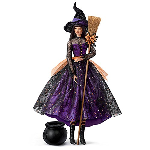 Witch Halloween Doll (The Ashton-Drake Galleries Serena Poseable Witch Portrait Doll with Broom and Cauldron)