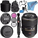Nikon AF-S VR Micro-NIKKOR 105mm f/2.8G IF-ED Lens 2160 + 62mm 3 Piece Filter Kit + Lens Pen Cleaner + Fibercloth + Lens Capkeeper + Lens Cleaning Kit Bundle