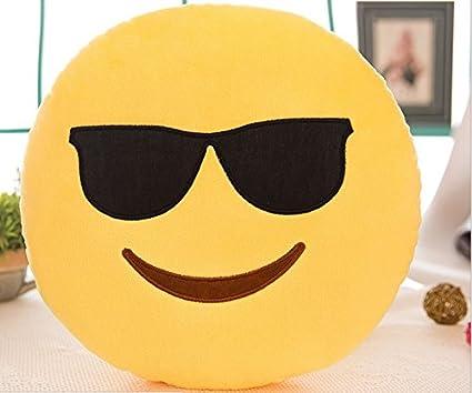KBBWK - Almohada de emoji de 32 cm con forma redonda, color amarillo, cojín