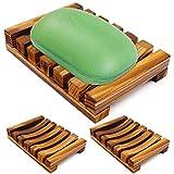 Bathroom Wooden Soap Case Holder, 3PCS IHUIXINHE Sink Deck Bathtub Shower Dish, Rectangular, Hand Craft, Natural Wooden Holder for Sponges, Scrubber (Bubble Foam Soap Mesh Bag Incl)