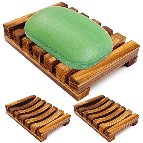 IHUIXINHE Bathroom Wooden Soap Case Holder, 3PCS Sink Deck Bathtub Shower Dish, Rectangular, Hand Craft, Natural Wooden Holder for Sponges, Scrubber (Bubble Foam Soap Mesh Bag Incl)