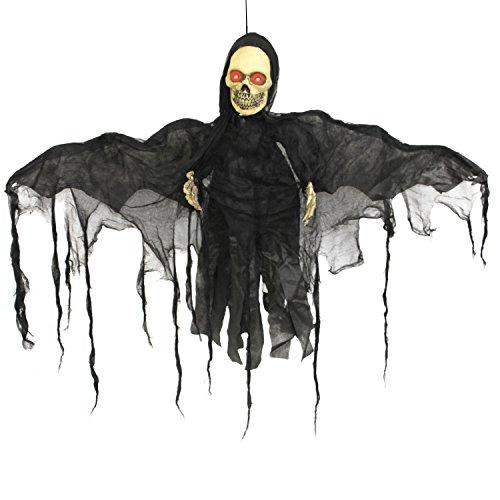 Halloween Haunters Animated Hanging Skeleton Bat Reaper with Moving Wings Prop Decoration - Red LED Eyes, Howls - Battery Operated