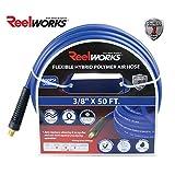REELWORKS Blue Hybrid Polymer Air Hose Heavy Duty, Light Weight, Flexible, Kink resistant 3/8