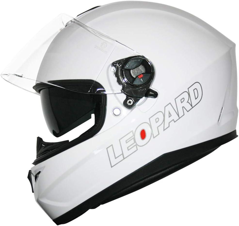 Leopard LEO-828 Casque Moto Int/égral Double Visi/ère ECER Homologu/é Homme Femme