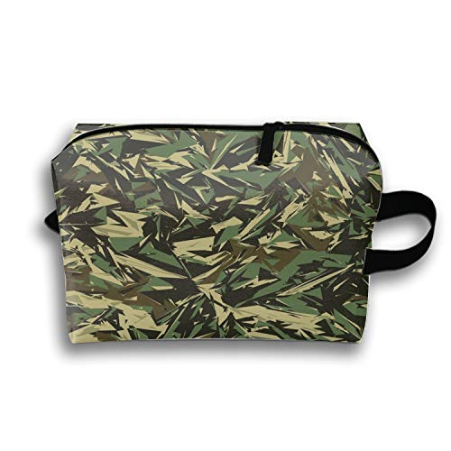 Cosmetic Bag with Zipper Military Of Camouflage Toiletry/Travel Bag for Brushes Jewelry ()