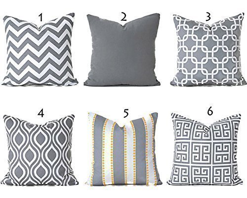 Decorative Throw Pillow Cover Any Size Grey and White