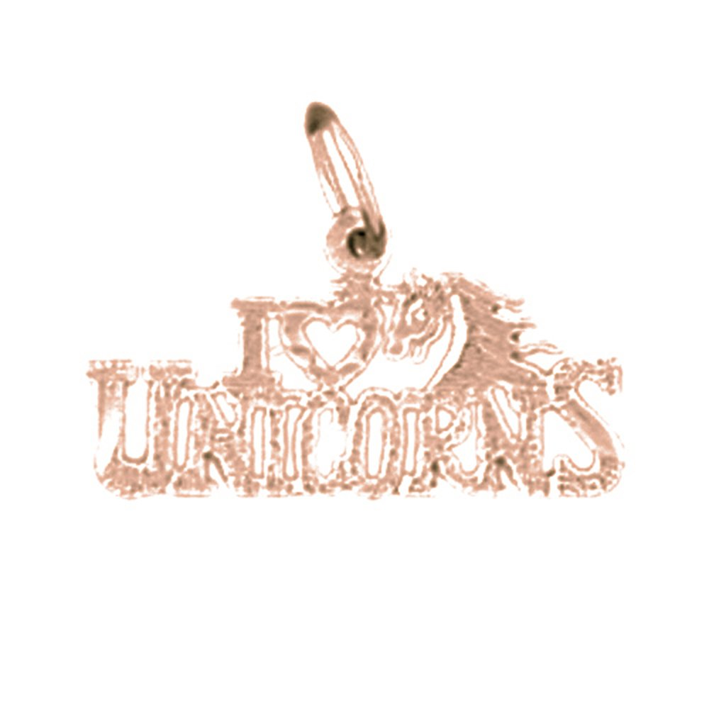 14K Rose Gold-plated 925 Silver I Love Unicorns Pendant with 18 Necklace Jewels Obsession I Love Unicorns Necklace