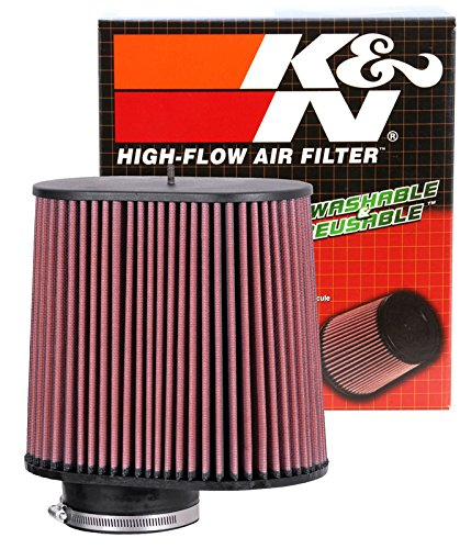 K&N RC-5102 Universal Clamp-On Air Filter: Oval Straight; 4 in (102 mm) Flange ID; 8.938 in (227 mm) Height; 9.5 in x 6.75 in (241 mm x 171 mm) Base; 9 in x 5.5 in (229 mm x 140 mm) Top by K&N