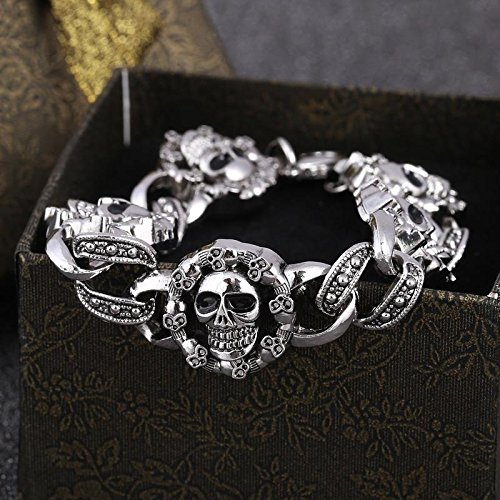 Xiaoxiongmao Wholesale Metal Stainless Steel Vintage Vampire Skull Bracelet Punk Rock Men Jewelry (Size: 18 cm, Color: Antique silver) multi-color one (Skulls Wholesale)