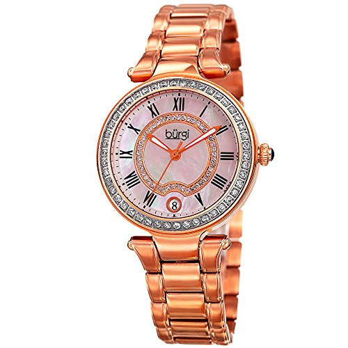(Burgi Women's White Mother-of-Pearl Dial with Swarovski Crystal Accents and Rose-Tone Stainless Steel Bracelet Watch BUR165RG)