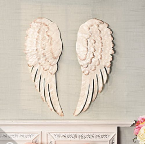 Stunning Set of Angel Wings Metal Wall Decor (2-PC) (Large White Feather Angel Wings)