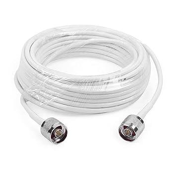 Cable de Extensión N Macho a N Macho Conector 50-3 de Baja pérdida de Cable de Antena,10m Longitud,Blanco