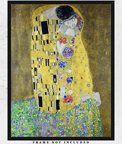 Gustav Klimt The Kiss Painting Reproduction Wall Art Print: Unique Room Decor for Boys, Girls, Men & Women - (11x14) Unframed Picture - Great Gift Idea Under $15 ()
