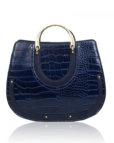 Leather 586 Her Holiday Navy Tote Handbag Print Shoulder Women's Faux Croc Handbags Bags LeahWard Bag For 7nq6CYO7U