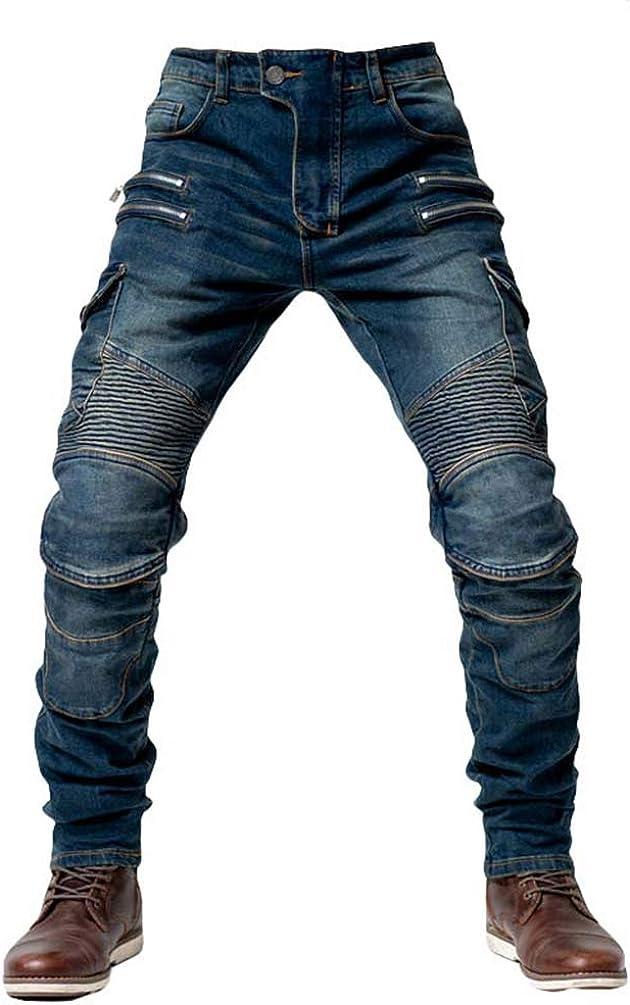 Inclus dans Le Pantalon Yuanu Jeans Hommes Pantalon Moto D/écontract/ée /Équitation Couleur Unie Slim Fit Pantalons en Denim pour Toutes Les Saisons avec /Équipement De Protection 4 *