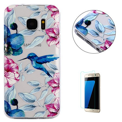 Samsung Galaxy S7 Edge Case Clear,[Free Screen Protector] KaseHom Premium Soft Silicone TPU Cover Oil Painting Anti-scratch Bumper Rubber Skin Shell for Galaxy S7 Edge,Hummingbird Flowers Advanced Pond Kit