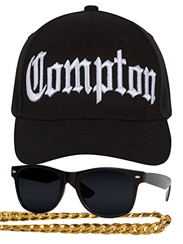 Gravity Trading Compton 80s Rapper Costume Kit - Curved Bill Hat + Sunglases + Chain Necklace Black]()
