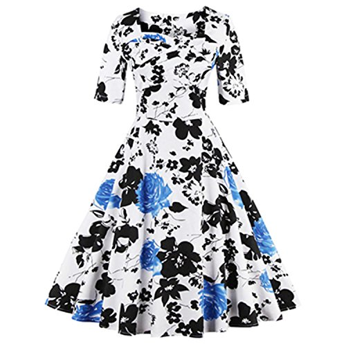 [Ladiamonddiva Dresses Elegant Style Women Rose Floral Print Vintage Dress 60S Swing Party Dress Plus Size S~4Xl Dresses 2] (60s Dress Up Ideas)