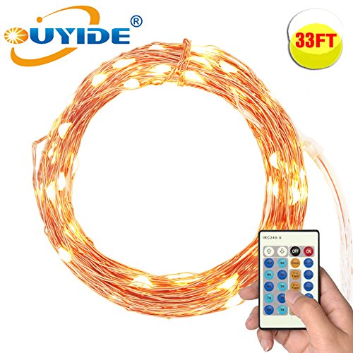 Ouyide 33Ft 100 Led String Lights Dimmable With Remote Control Waterproof Decorative Lights For Bedroom Patio Garden Gate Yard Parties Wedding Copper Wire Lights Warm White