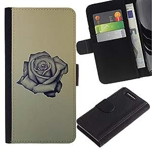 Billetera de Cuero Caso Titular de la tarjeta Carcasa Funda para Sony Xperia Z1 Compact D5503 / rose tattoo ink rock roll love yellow / STRONG