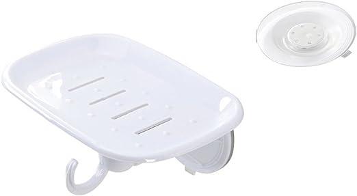 Caja de jabón de plástico caja de jabón de baño con ventosa resistente al agua jabonera con ventosa y gancho: Amazon.es: Hogar