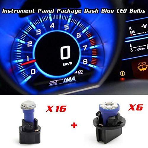 Partsam 16PCS T5 Instrument Panel LED Lights Gauge Cluster Speedometer Lamps + 6PCS T10 LED Bulbs for 98-01 Ford Ranger