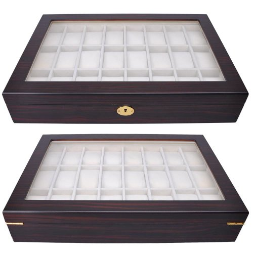 24 Watch Display Wooden Case - Ebony Matte Stain with Glass Top by Generic (Image #1)