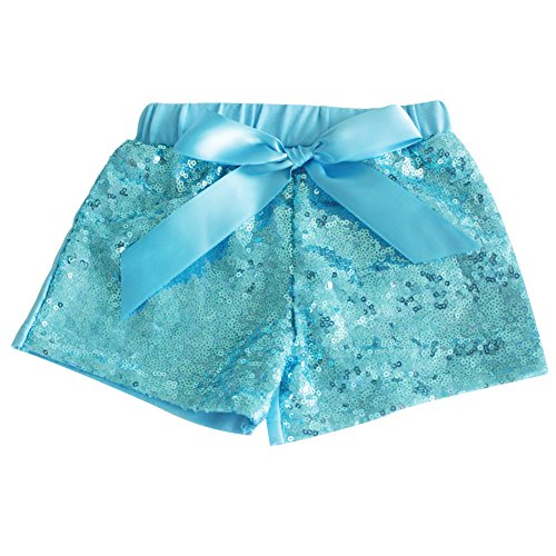 (Messy Code Baby Girls Shorts Toddlers Short Sequin Pants Newborn Sparkle Shorts with Bow , Blue, XXXL(5-6Y))